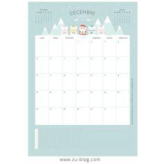 voici un calendrier de décembre 2016 donc chaque mois je mettrai un calendrier pour vous organisez que vous imprimez ensuite dans ce tableau:Imprimables  bisous