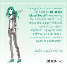 Feeling stressed and anxious? You need our Balanced Mood Boost™ to make you feel calm and serene. Using this aromatic spray will help you find your natural happiness. Spray onto skin and wear as a perfume or spray into the air to create a balanced environment. #ADORAtherapy #aromatherapy #GalOnTheGo #Balanced #MoodBoost #FemaleEmpowerment #Green