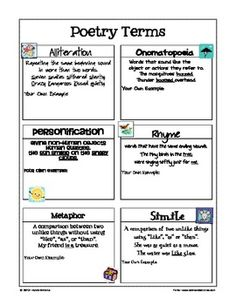 FREE Poetry Terms / Figurative Language Reference Sheet