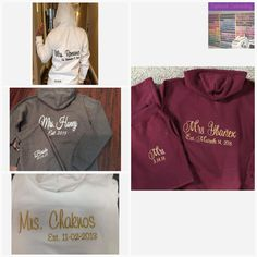 Personalized Embroidered Bride Tracksuit Hoodie and pants - Bridal Party Tracksuit Personalized the way you want! Brides And Bridesmaids, Bridesmaid Gifts, Homemade Wedding Centerpieces, Custom Embroidery, Maid Of Honor, Graphic Sweatshirt, Hoodie, Bridal, Sweatshirts