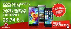 Junge Leute: Vodafone Smart L mit 1300 MB Internet Flat und TOP-Smartphone für 29,74€ http://www.simdealz.de/vodafone/smart-l-mit-1300-mb-internet-flat/