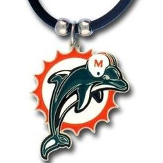 NFL Logo Pendant Necklace Rubber Cord - Miami Dolphins