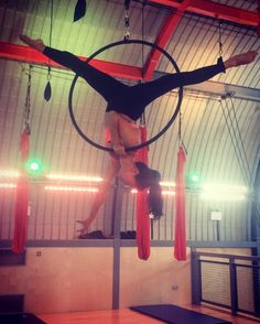 """176 Likes, 9 Comments - Jenny (@jenpointe) on Instagram: """"Mood lighting at Flying Fantastic whilst I work on this short sequence again. #aerialhoop…"""""""