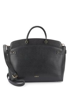 FURLA Solid Leather Satchel. #furla #bags #shoulder bags #hand bags #leather #satchel #