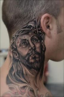 Wowww, I know religion can be a real pain in the neck but this is my fav of my religious tattoos, in fact this neck tattoo is just damn stunning.
