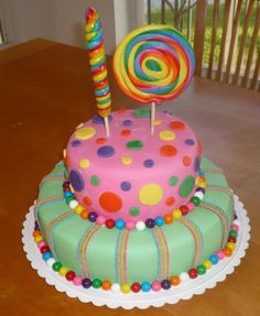 Easy to make cake. Two tiers of fondant with bubble gum balls lining each layer, fondant polka dots and sour fruit strip stripes. Lollipops 'spell out' the number 10.