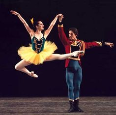 "New York City Ballet's Margaret Tracey and Damien Woetzel in ""Stars and Stripes"". From: ""The Balanchine Celebration."""