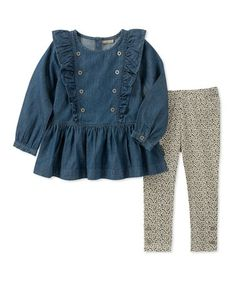 1ffb1abf9c8 Look what I found on  zulily! Denim Ruffle Button-Front Top  amp
