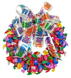 Image detail for -. Dubble Bubble Candy Wreath :: Candy Wreaths :: A Bountiful Harvest Birthday Candy, Birthday Gifts, Happy Birthday, Birthday Parties, Birthday Wreaths, Birthday Basket, Birthday Celebrations, Birthday Ideas, Candy Wreath