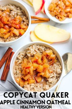 This delicious, healthy and wholesome Apple Cinnamon Oatmeal tastes just like the original Quaker Oats flavor- except this recipe is a healthier version and has zero added sugar. Packed with tons of… More Brunch Recipes, Breakfast Recipes, Breakfast Ideas, Breakfast Bagel, Breakfast Healthy, Free Breakfast, Breakfast Time, Dessert Recipes, Apple Cinnamon Oatmeal
