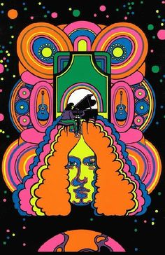 High quality reprinted psychedelic art print poster titled Arlo from 11 x 17 high quality reproduction on card stock. Psychedelic Art, Woodstock, Pop Art, Art Nouveau, Hippie Culture, Black Light Posters, Kunst Poster, Graffiti, Poster Prints