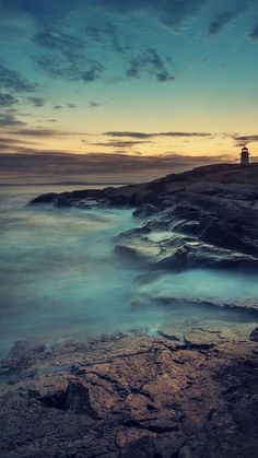 Rocky Ocean Shore Lighthouse Sunset iPhone 6+ HD Wallpaper