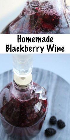 Homemade Blackberry Wine Recipe, Homemade Wine Recipes, Homemade Alcohol, Homemade Liquor, Blackberry Recipes, Brandy Recipe, Blackberry Bush, Homemade Tables, Wine And Liquor