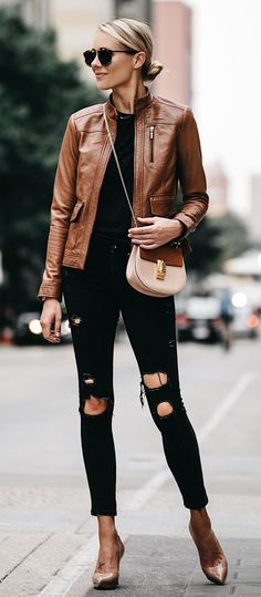 #winter #outfits brown leather jacket