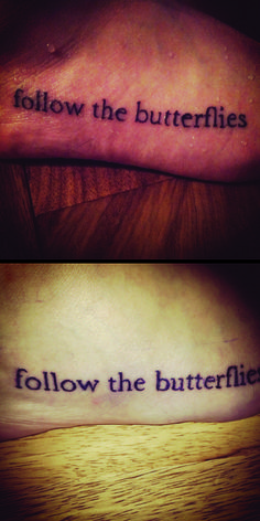 harry potter tattoo. Follow the spiders... Why could it be follow the butterflies