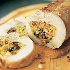 Roast pork loin with apricot, cherry and pecan stuffing