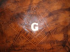 Custom Leather Mason Apron Case with Square and Compass Design and in Weathered Color