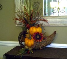 Rustic Fall Cornucopia Floral Arrangement by perpetualposy on Etsy