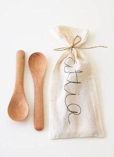 wooden serving spoons (set of 4) . attia . &45.00