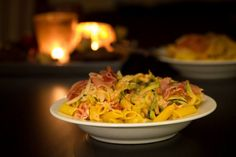Pasta met serranoham en courgette | Stories of a Coeliac