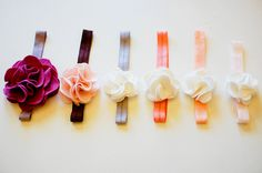 """amazing tutorial for homemade flower headbands (nice to know that there is such a thing as """"stretchy ribbon"""")."""