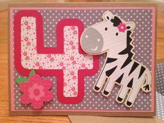 4th birthday card for little girl with zebra by LoelleBoutique, $6.00