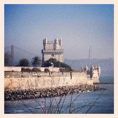 Lisbon symbols: Belém Tower, 25 de Abril Bridge, Cristo Rei statue
