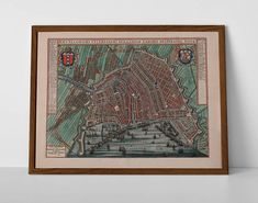 Old Map of Amsterdam, originally created by Willem Janszoon Blaeu, now available as a 'museum quality' vintique wall decoration print. Amsterdam Holland, Wall Decor, Wall Art, Historical Maps, Antique Maps, Travel Posters, Netherlands, Giclee Print, Museum