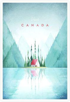 Vintage travel poster illustration of Canada by Henry Rivers of Travel Poster Co. Canada Per informazioni Accedi al nostro sito http://storelatina.com/canada/travelling