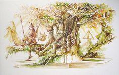 illustration des fetes 2009 2010 Aquarelle LUTINS 35x50cm