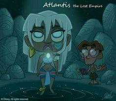 Disney Chibi: Atlantis the Lost Empire Disney Pixar, Walt Disney Animation, Disney Films, Disney Fan Art, Kida Disney, Disney E Dreamworks, Chibi Disney, Walt Disney Characters, Disney Cartoons