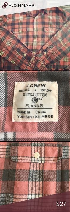J. Crew Heavyweight Flannel Button Down (XL) Men's J. Crew heavyweight Button Down Flannel. 100% Cotton. Pink and salmon color. Very good condition, no damage or missing buttons. Perfect for cold winter swaggy nights. J. Crew Shirts Casual Button Down Shirts