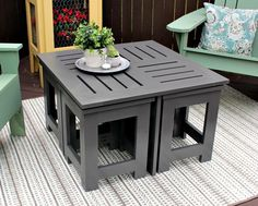 Outdoor Coffee Table with 4 Hidden Side Tables - buildsomething.com