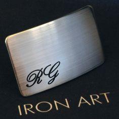 Personalized Men's Bespoke Belt Buckle Brushed Stainless Steel Initials Hypoallergenic Custom Monogram Etch Custom Font