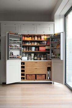 Brook Green Larder - Higham Furniture - Painted in Little Green French Grey with Oak interior. Shaker doors.