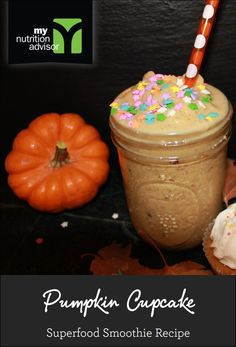 Pumpkin Cupcake Superfood Smoothie Recipe! Contains over 10 different superfoods in the Ancient Delight Superfood Mix we are using. Click on the image for the recipe. #mnasmoothie
