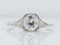 Antique Engagement Ring Edwardian / Art Deco 1.35 Old European Cut Diamond Filigree Solitaire set in Platinum on Etsy, $9,450.00