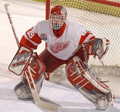 Dominik Hašek (Detroit Red Wings), famous Czech goalie, ranked 1st in NHL as the highest career save percent (.922) and and the most (70) saves in a game without allowing a goal. He is 6 times holder of Vezina Trophy, the award for the best goalie of the league. He is the member of NHL Hall of Fame. #Czechia #sports #icehockey