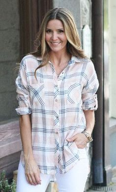 This shirt is the perfect summer plaid to throw over a tank or wear with white jeans, shorts, and your favorite flip flops.