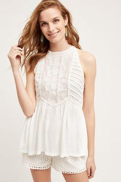 3767-Nwt-Anthropologie-Meadow-Rue-Eyelet-Halter-White-Blouse-Tunic-Top-S