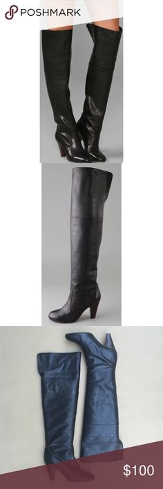 """Ash Muse boots Black pebbled leather over the knee boots. 3"""" stacked heel, 21"""" shaft and 17"""" circumference. Worn twice. European size 40. Fits like a 9.5 Ash Shoes Over the Knee Boots"""
