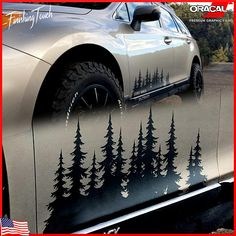 These Unique, cut to the order tree forest silhouette Decals are Cut from high quality exterior grade 651 Oracal Vinyl on a professional plotter, these decals will stick great to any clean and smooth surface, Vehicle window, door, bumper, car or truck trailer, boat, camper,