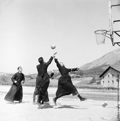 vintageeveryday:  Recreation time for the seminarists at St. Ignatius Loyala shrine at Azpeitia, Gipuzkoa (Guipúzcoa) in Spain. (Photo by Evans-Getty Images). 1955