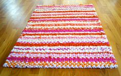 Twined Rag Rug Orange Pink White Ivory Cream Cotton Fabric, $145.00, Handmade by CottonBirdRag Rugs