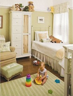 nurseries - Cottage Living magazine striped mint green rug beige glider green ottoman armoire Neutral Nursery on imgfave Baby Room Neutral, Nursery Neutral, Gender Neutral, Neutral Nurseries, Cream Nursery, White Nursery, Southern Living, Simply Southern, Cottage Living Magazine