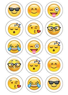 Emoji Cupcake Toppers 15 x pre-cut per sheet (Best Quality) Sunshine Cake… Cupcake Emoji, Emoji Cake, Party Emoji, Birthday Party Themes, Girl Birthday, Smiley, Party Time, Crafts For Kids, Printables