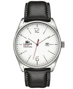 Lacoste Watch, Men's Austin Black Leather Strap 44mm 2010680 - Men's Watches - Jewelry & Watches - Macy's