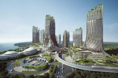 Mangrove Ocean-Eco City 蔓海碧城 designed by crox group, a competition held by Country Garden Group Futuristic Architecture, Amazing Architecture, Architecture Design, City Landscape, Fantasy Landscape, Egypt Culture, Eco City, Future Buildings, Building Stairs