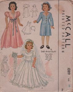 McCall 1089 1940s  Wedding Honeymoon Doll Clothes Pattern to Fit Little Lady and Similar 22 Inch Dolls Vintage Doll Clothes Pattern Uncut