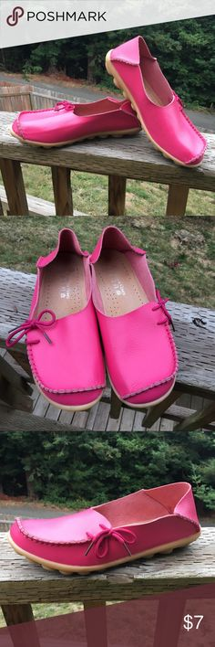 Hot Pink Leather Comfort Shoes, size 9.5 Bought these off Wish. They are beautiful, completely comfortable, with so very little wear because even though they said they were size 10, they felt more like a 9 or 9.5 to me. Genuine leather upper, cushiony sole. No signs of any wear outside of the sole. Shoes Flats & Loafers